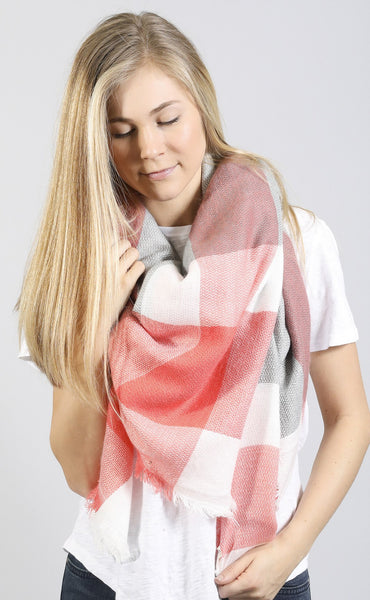 woodland wanderer plaid scarf - grey