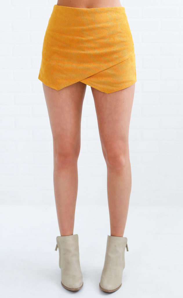 worth the wait corduroy skirt - mustard
