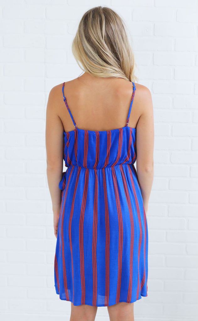 wrap it up striped dress - blue