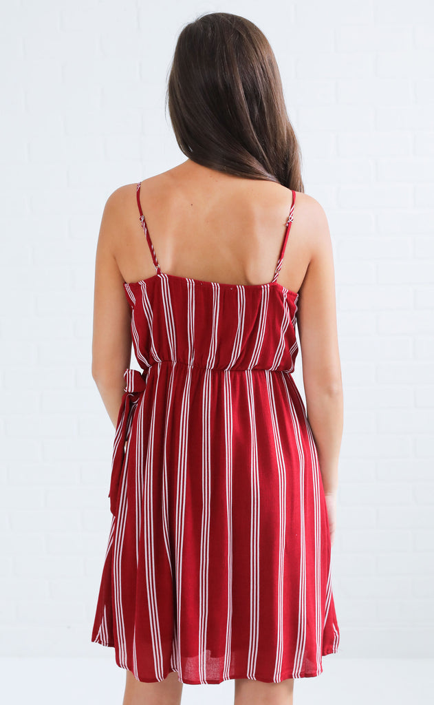 wrap it up striped dress - crimson/white