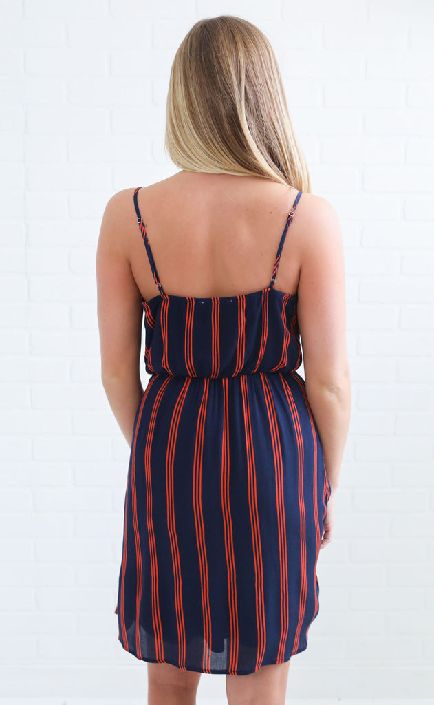 wrap it up striped dress - navy