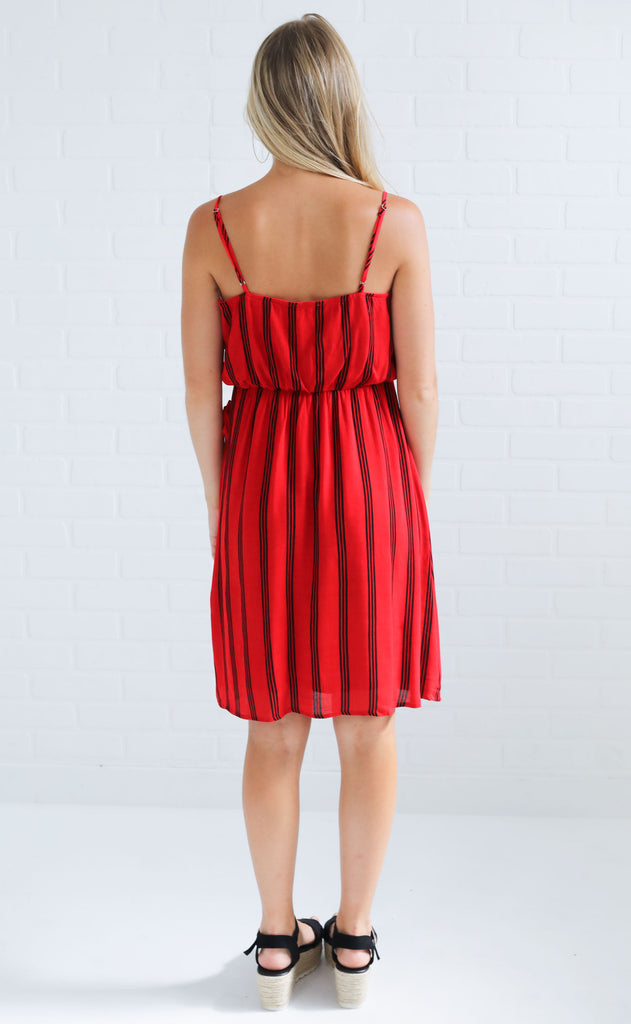 wrap it up striped dress - red/black