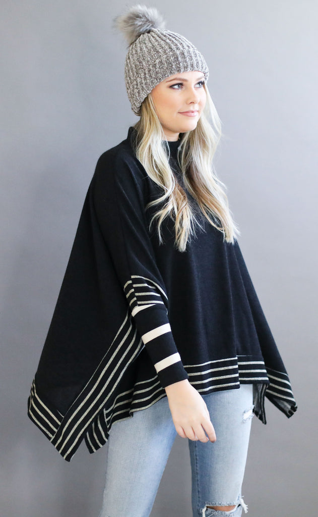 yes please striped top - black