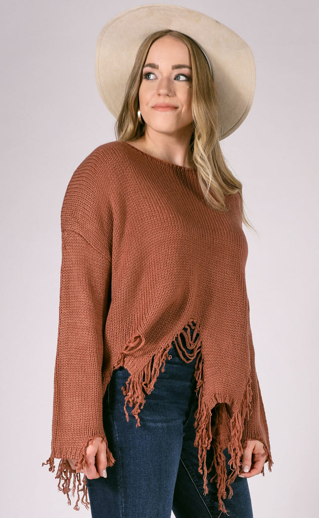 yes to distress knit sweater - ginger