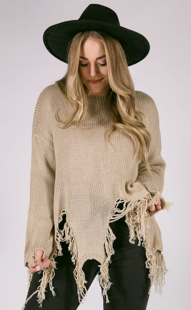 yes to distress knit sweater - sand