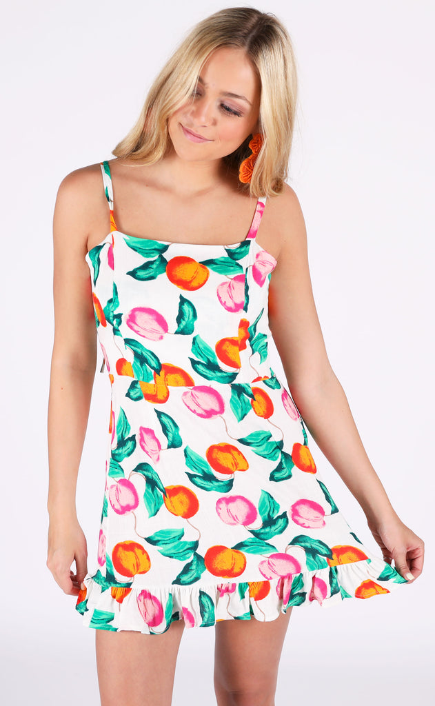 you're a peach printed dress