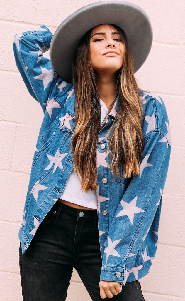 you're a star denim jacket - pink
