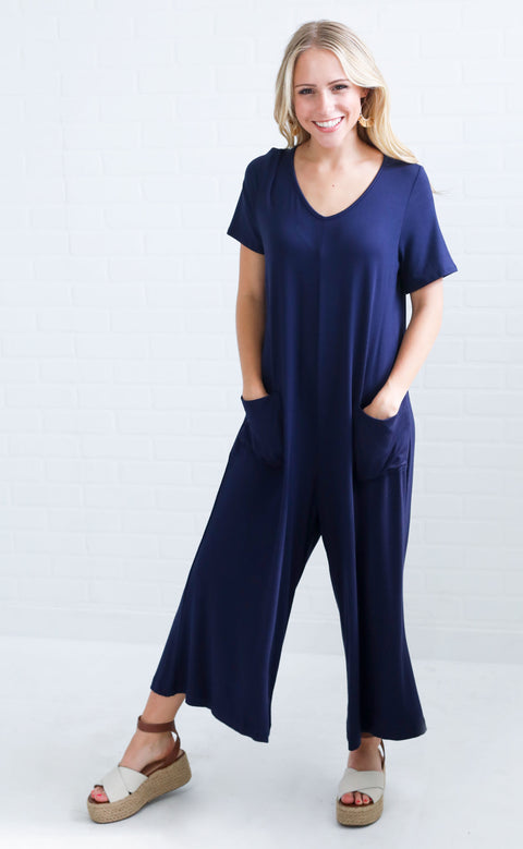 you're so classic slouchy jumpsuit - navy