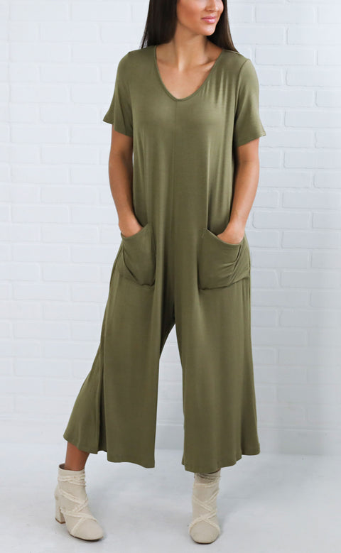 you're so classic slouchy jumpsuit - olive