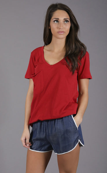 z supply: nicole pocket t shirt - red