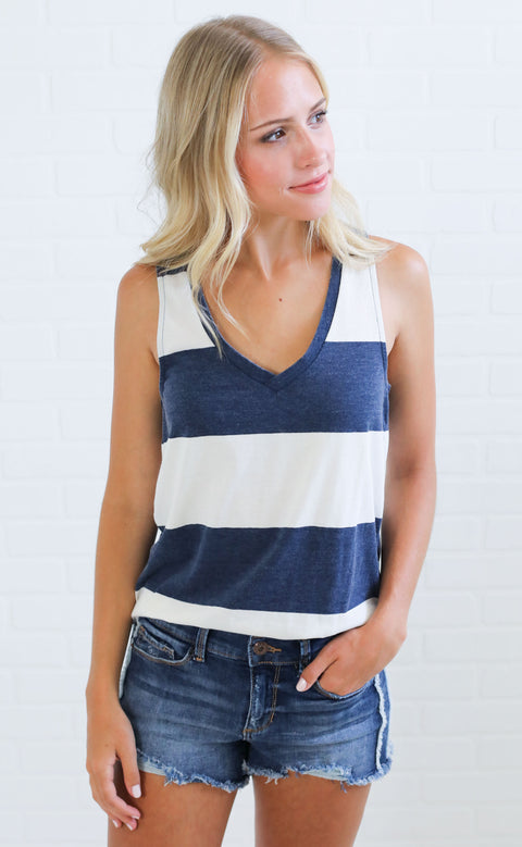 z supply: the venice striped racer tank - navy
