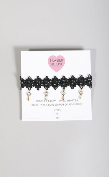 frasier sterling: zepplin crystal choker - black