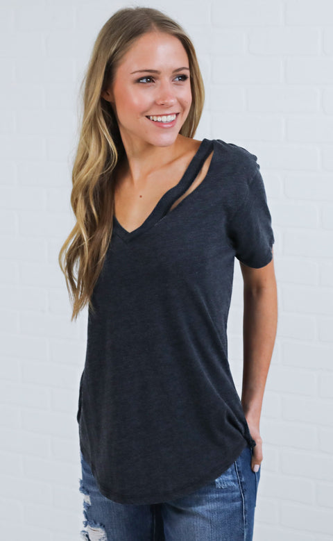 z supply: the cutout v-neck tee - black