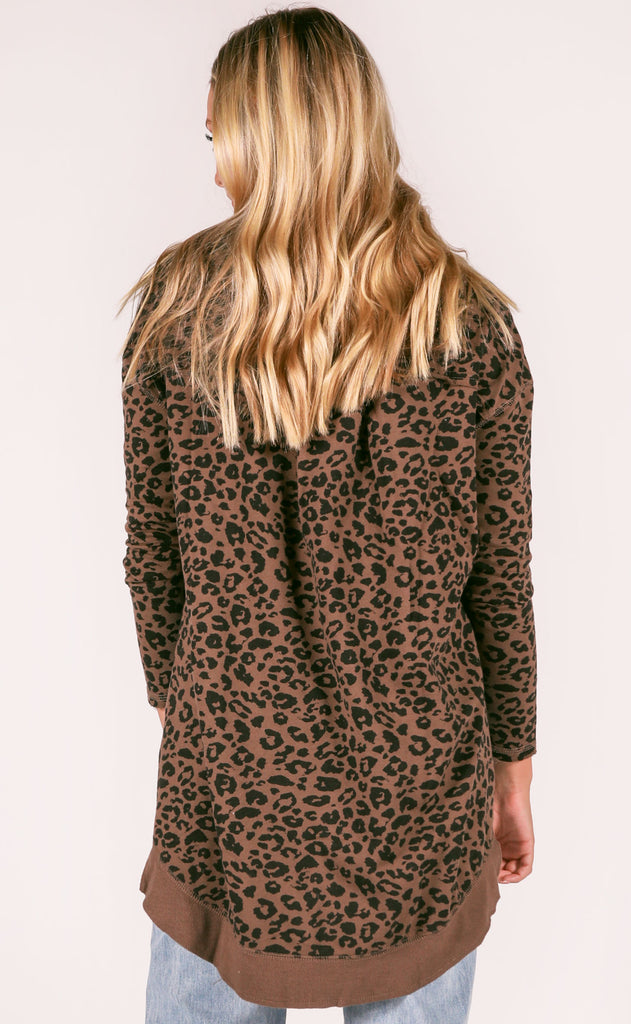 z supply: the weekender leopard pullover - french roast