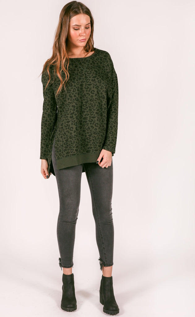 z supply: the weekender leopard pullover - rosin