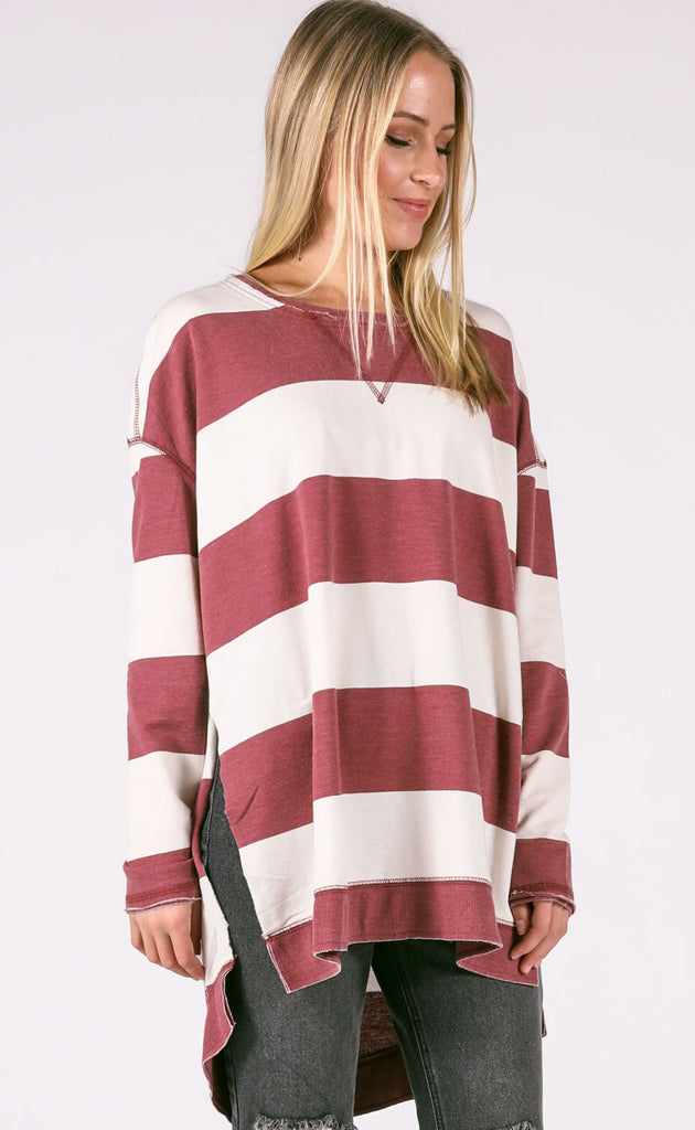 z supply: the weekender rugby stripe pullover - crushed berry