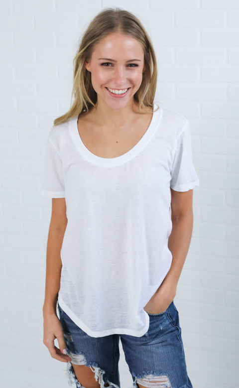 z supply: the scoop neck t shirt - white