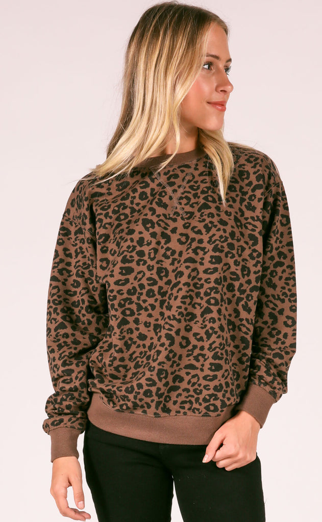 z supply: the leopard pullover - french roast
