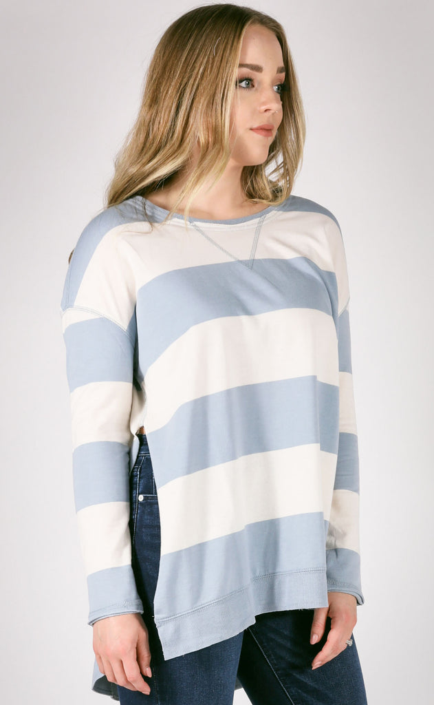 z supply: the weekender rugby stripe pullover - light blue