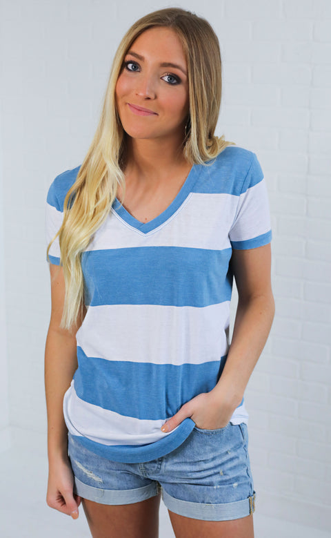 z supply: the venice striped tee - blue