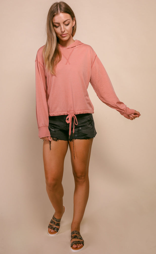 z supply: burnout french terry pullover- cameo blush