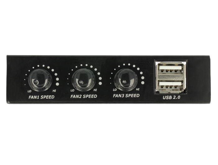 DeLOCK 3.5 Front Panel > 2 x USB 2.0 and fan control Lagrings bay port panel