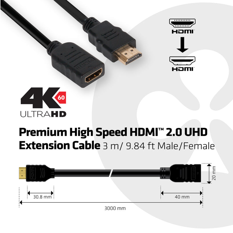 Club 3D HDMI 2.0 extension cable 3m