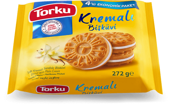 TORKU BISCUITS WITH VANILLA CREAM MULTI PACK / BISKUVI SADE KREMALI  8x4X76 GR