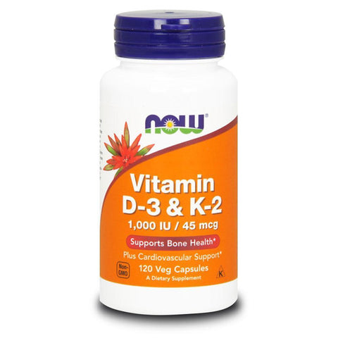 Vitamin D NOW Foods Vitamin D3 1000iu / K2 45mcg [120 Caps]