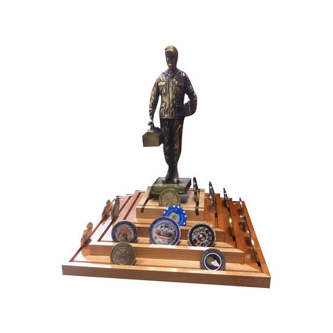 SPINNING PYRAMID COIN RACK w/MX MAN STATUE