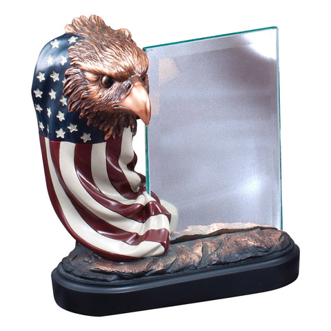 EAGLE BUST ON FLAG RIBBON WITH GLASS