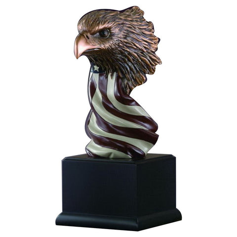 EAGLE BUST ON FLAG RIBBON