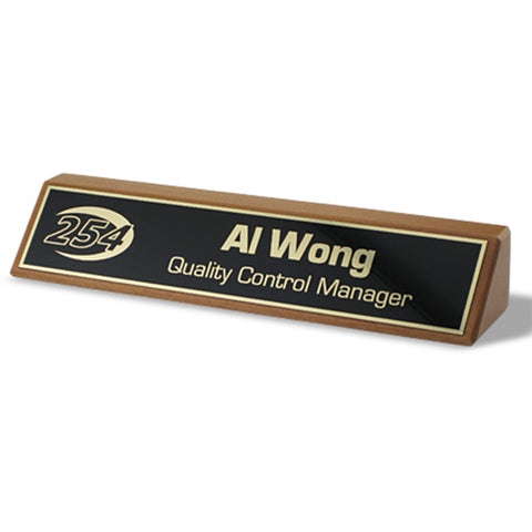 NAMEPLATE - WALNUT W/ METAL PLATE