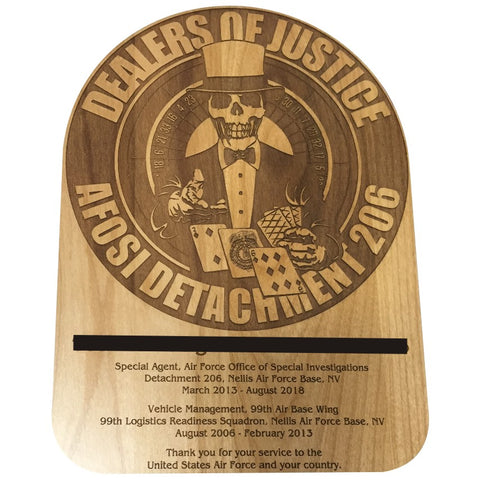ENGRAVED CUSTOM SHAPED PLAQUE