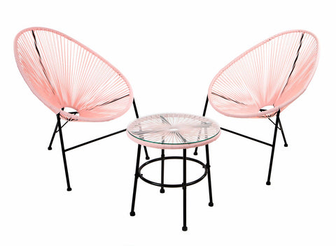 Pink 2 Seater Rattan Bistro