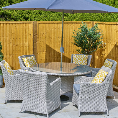 Lille 6 Seater Dining Set Inc. Parasol