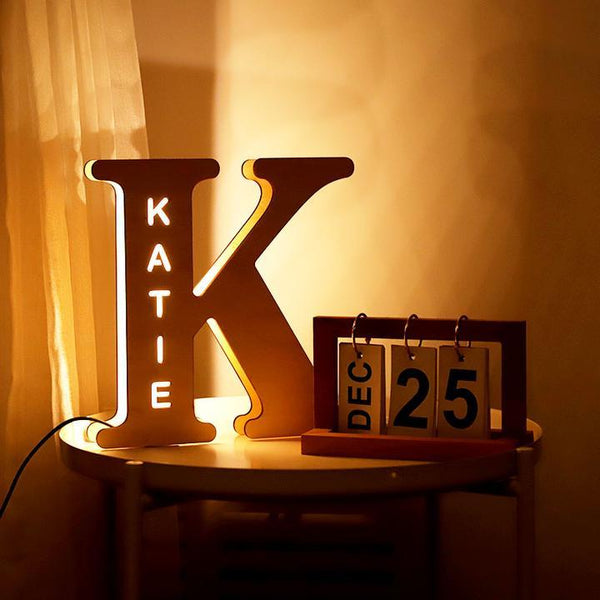 Custom Woodcut Alphabet Wall Light Night Light