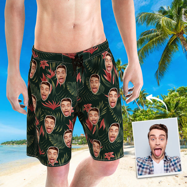 Men's Custom Face Beach Shorts Flowers And Leaves