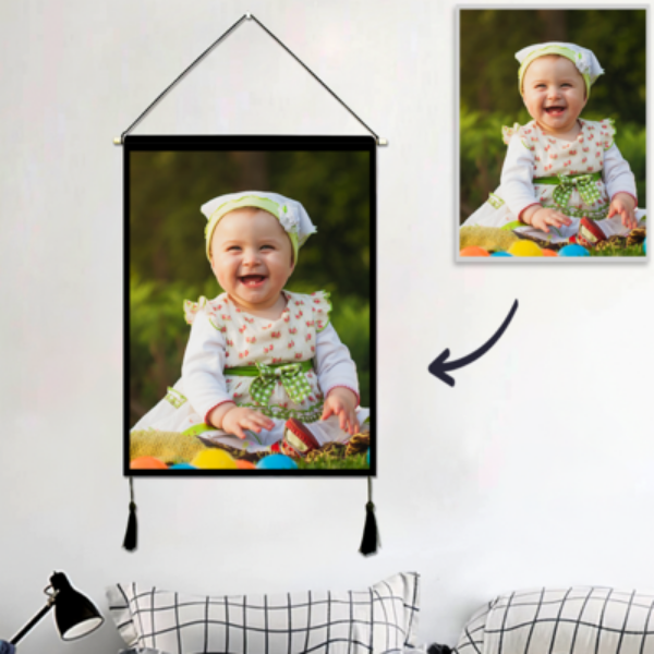 Custom Photo Tapestry Wall Decor Personalized Hanging Fabric Painting Hanger Frame Poster