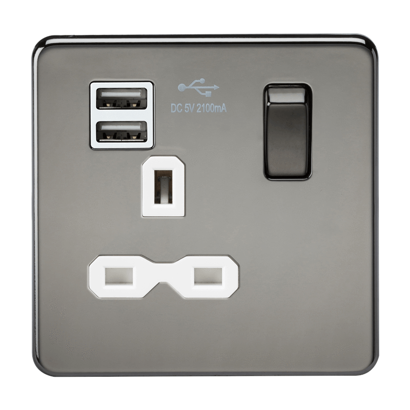 1G 13A Screwless Black Nickel 1G Switched Socket with Dual 5V USB Charger Ports - White Insert