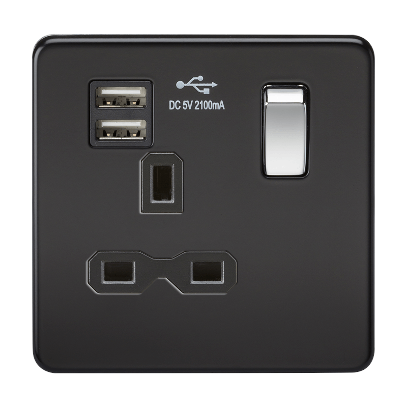 1G 13A Screwless Matt Black 1G Switched Socket with Dual 5V USB Charger Ports