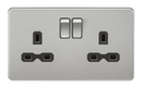 2G DP 13A Screwless Brushed Chrome 230V UK 3 Pin Switched Electric Wall Socket - Black Insert