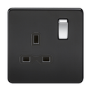 1G DP 13A Screwless Matt Black 230V UK 3 Pin Switched Electrical Wall Socket