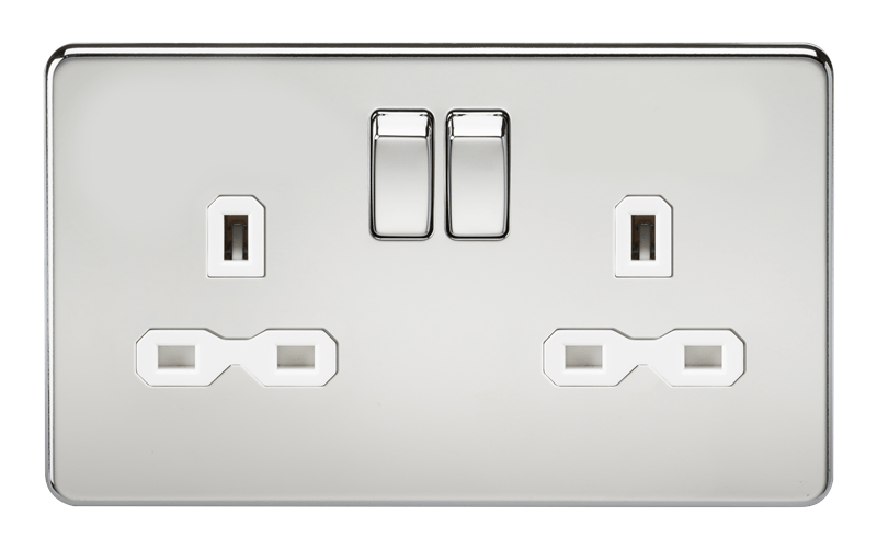 2G DP 13A Screwless Polished Chrome 230V UK 3 Pin Switched Electric Wall Socket - White Insert