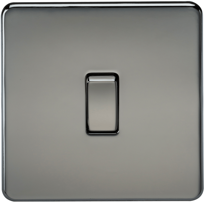 10A 1G 2 Way 230V Screwless Black Nickel Electric Wall Plate Switch