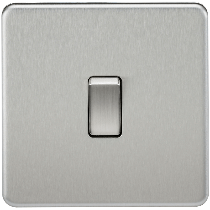 20A 1G DP 230V Screwless Brushed Chrome Electric Wall Plate Switch