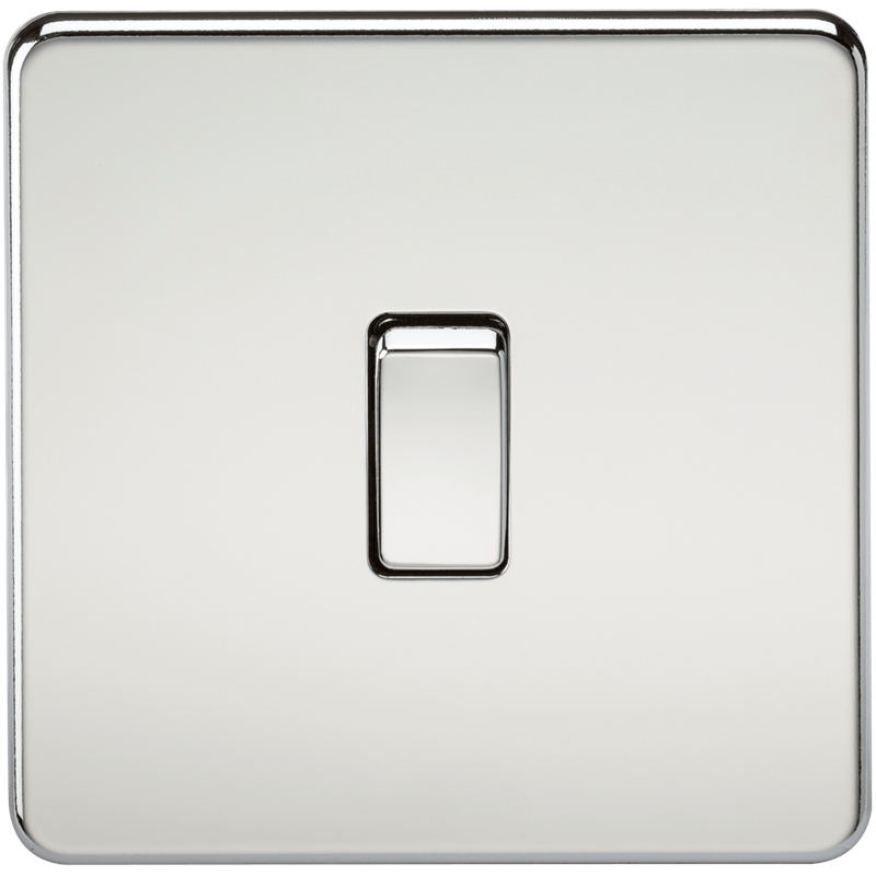 20A 1G DP 230V Screwless Polished Chrome Electric Wall Plate Switch