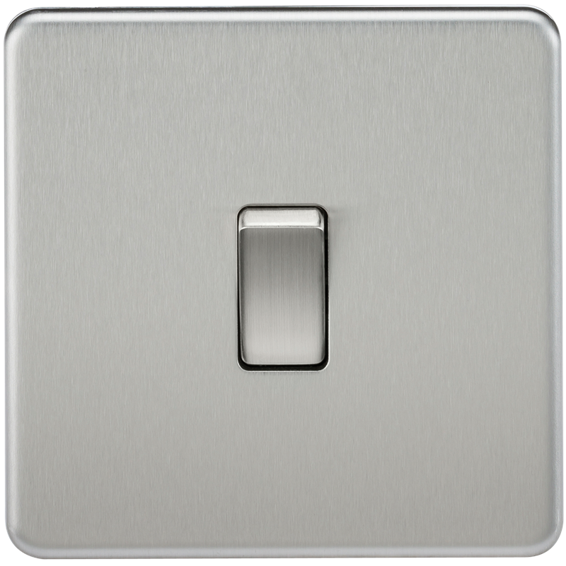 10A 1G 230V Screwless Brushed Chrome Intermediate Switch Wall Plate