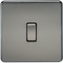 10A 1G 230V Screwless Black Nickel Intermediate Switch Wall Plate