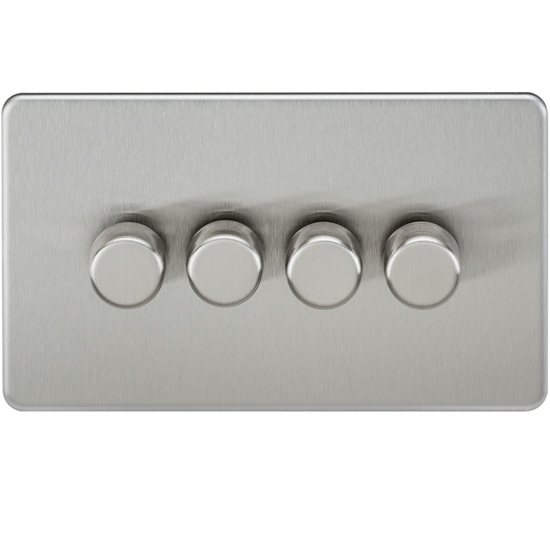 10-200W 4G 2 Way Screwless Brushed Chrome 230V Electric Dimmer Switch LED Compatible
